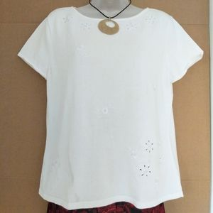 Talbots White Embroidered Beaded Sweater Size L